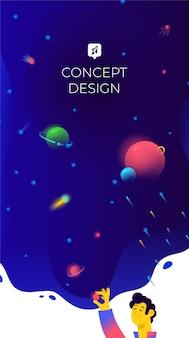 Ilustración de espacio libre y planetas