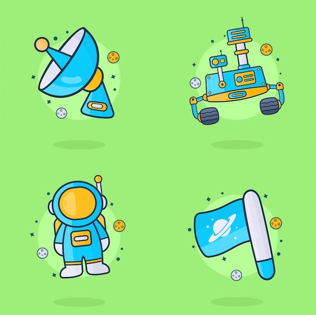 Ilustración del espacio, la luna y el astronauta