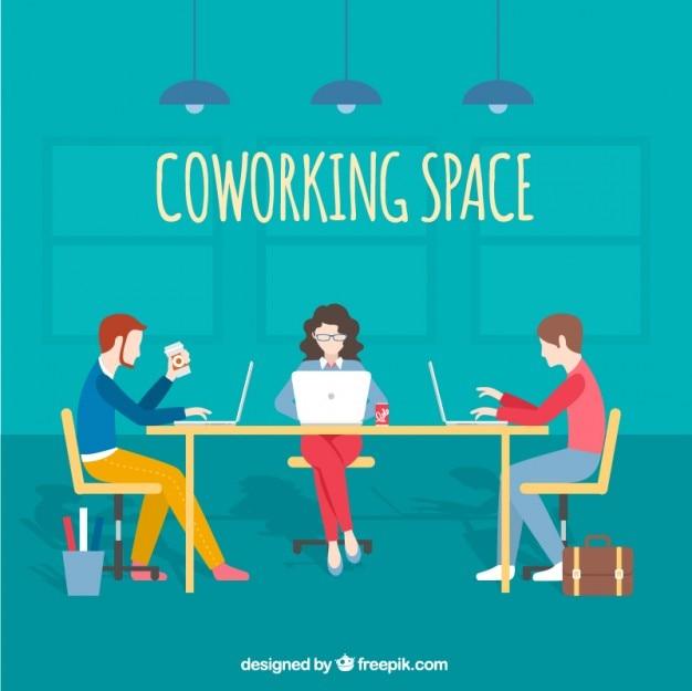 Ilustración de espacio de trabajo cooperativo
