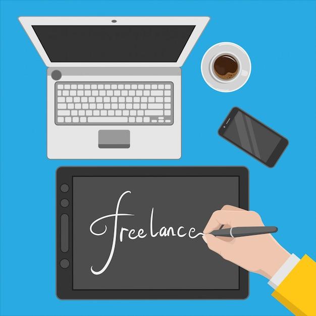 Ilustración del espacio de trabajo de un diseñador independiente