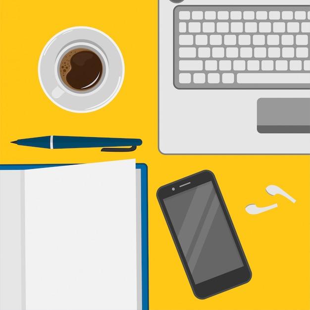 Ilustración del espacio de trabajo para freelance