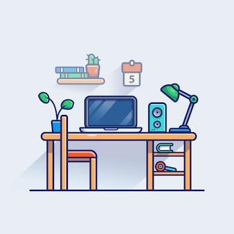 Ilustración del espacio de trabajo. monitor y portátil en la mesa. concepto de espacio de trabajo blanco aislado