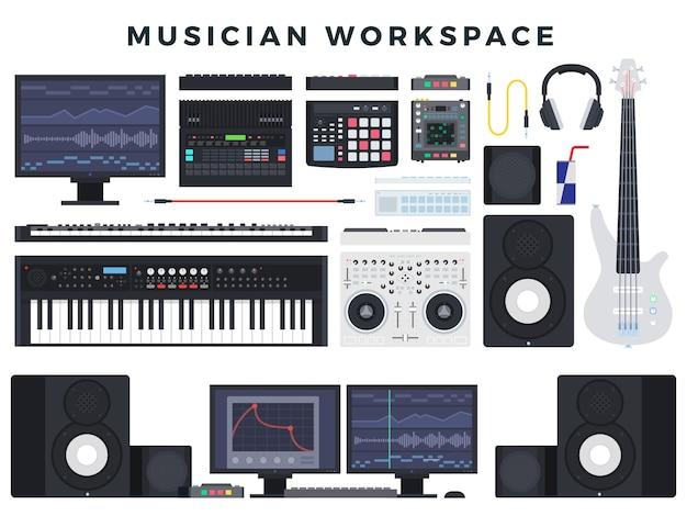 Ilustración de espacio de trabajo de músico