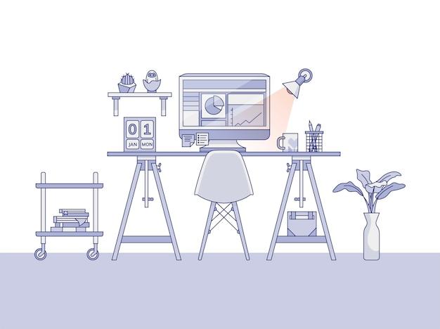 Ilustración de espacio de trabajo de oficina en el hogar