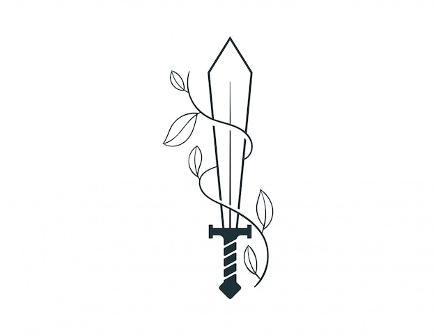 Ilustración de espada y naturaleza