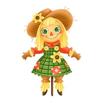 Ilustración de un espantapájaros de granja de dibujos animados lindo