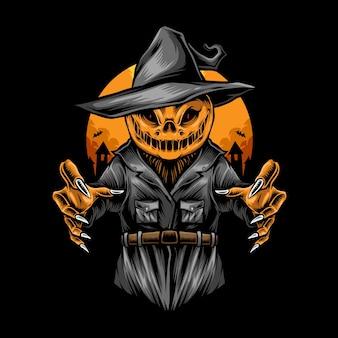Ilustración de espantapájaros de halloween de miedo