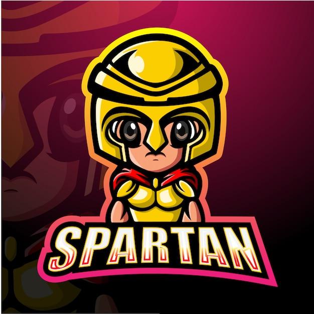 Ilustración de espartan warrior mascota esport