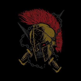 Ilustración espartana del guerrero del cráneo