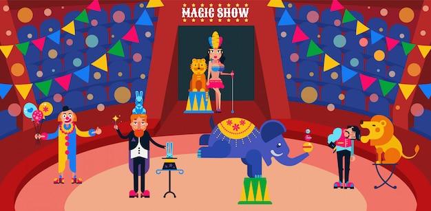 Ilustración de espectáculo de circo. artistas de circo intérpretes en arena entrenador, mago con liebres, asistente, payaso. animales salvajes león, tigre, elefante.