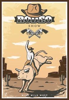 Ilustración de espectáculo de rodeo vintage