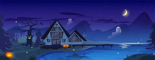 Ilustración espeluznante de halloween con fantasmas y murciélagos de calabazas de casa de miedo
