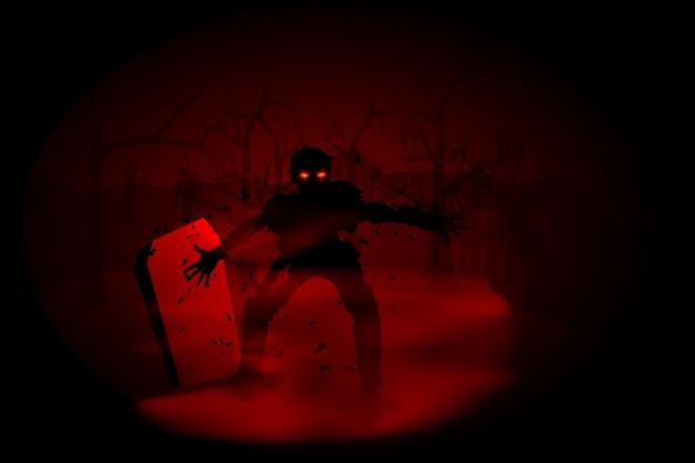 Ilustración espeluznante de zombie en el cementerio