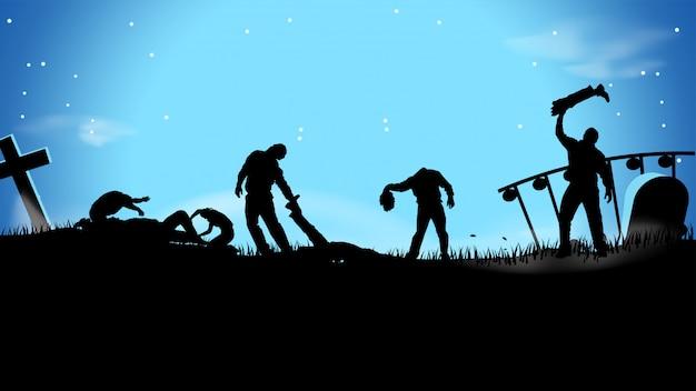 Ilustración espeluznante de zombies en el cementerio