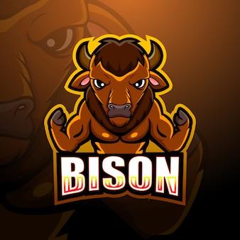 Ilustración de esport de mascota de bisonte fuerte