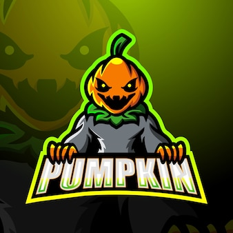 Ilustración de esport de mascota de calabaza de halloween