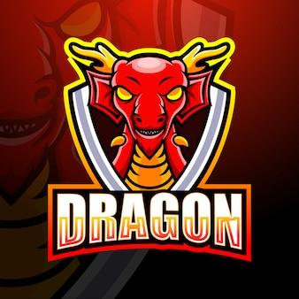 Ilustración de esport de mascota de dragón