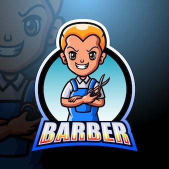 Ilustración de esport de mascota de hombre barbero