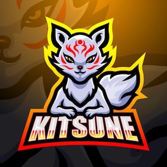 Ilustración de esport de la mascota kitsune