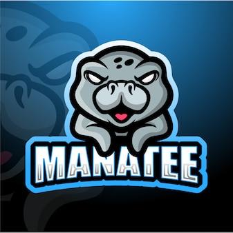 Ilustración de esport de mascota de manatí
