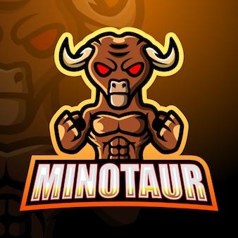 Ilustración de esport mascota minotauro