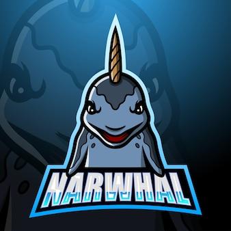 Ilustración de esport de mascota narwhal