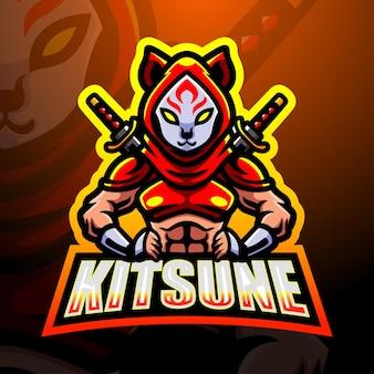 Ilustración de esport de la mascota ninja kitsune