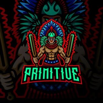 Ilustración de esports de juegos de logotipo de mascota primitiva