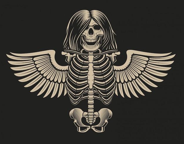 Ilustración de un esqueleto con alas sobre un fondo oscuro.