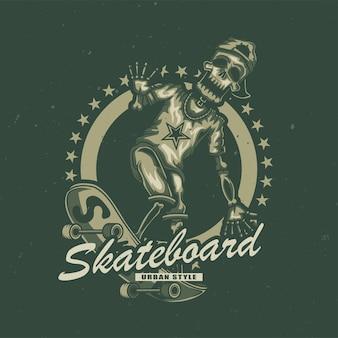 Ilustración del esqueleto en patineta