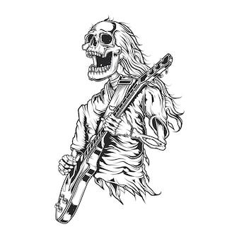 Ilustración de esqueleto tocando la guitarra