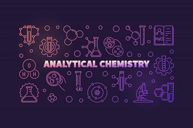 Ilustración de esquema coloreado de química analítica