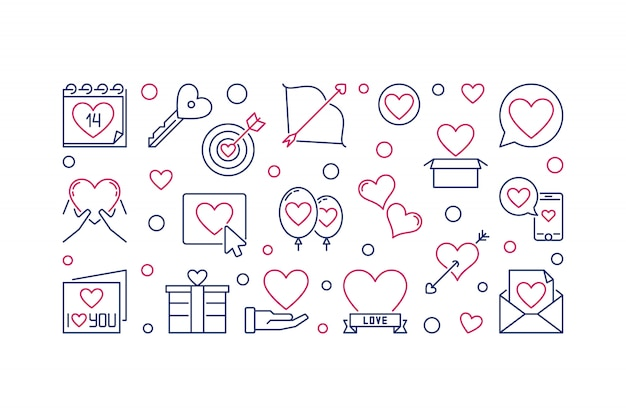 Ilustración de esquema de vector de san valentín o banner