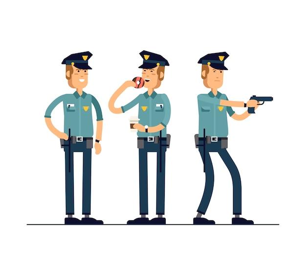 Ilustración establece carácter de policía. un policía en uniforme está parado en diferentes poses.
