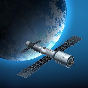 Ilustración de la estación espacial internacional en órbita alrededor de la tierra.