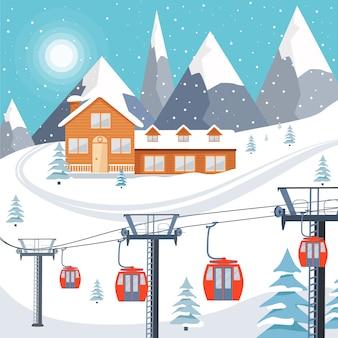 Ilustración de la estación de esquí con casa de madera y remonte.