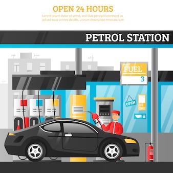 Ilustración de la estación de gasolina