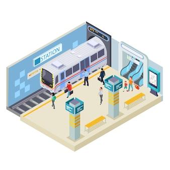 Ilustración de la estación de metro en blanco