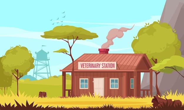 Ilustración de la estación veterinaria forestal