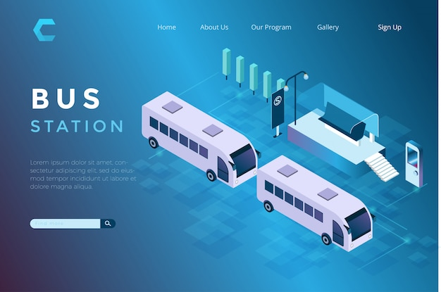 Ilustración del estacionamiento de autobuses en un refugio isométrico estilo 3d