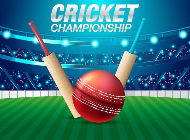 Ilustración del estadio de cricket con balón en cancha.