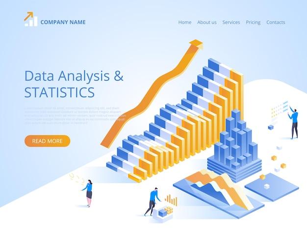 Ilustración de estadísticas de análisis de datos en línea para la página de destino