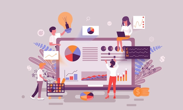 Ilustración de estadísticas comerciales