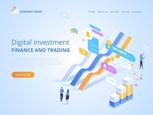 Ilustración de estadísticas en línea de inversión digital para página de destino
