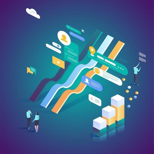 Ilustración de estadísticas en línea de inversión digital