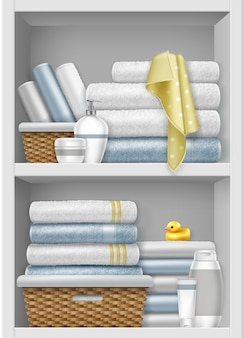 Ilustración de estante con toallas limpias dobladas en canasta de mimbre