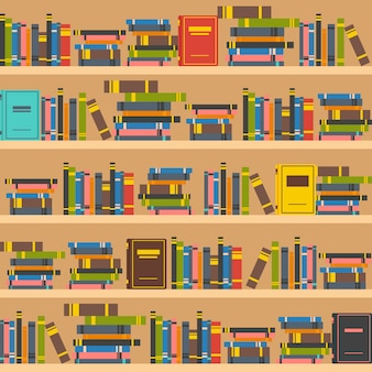 Ilustración de estantes de libros