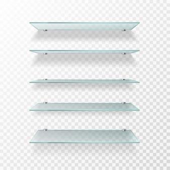 Ilustración de estantes de vidrio
