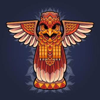 Ilustración de la estatua del águila tótem