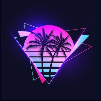 Ilustración estética retrowave o synthwave o vaporwave de la puesta de sol de color degradado vintage con siluetas de palmeras sobre fondo de formas triangulares abstractas.